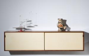 Picasso vase, Jerome Kirk scuplture mobile, Florence Knoll hanging cabinet